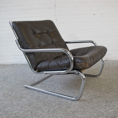 Brown Leather Easy lounge Chair, 1970s