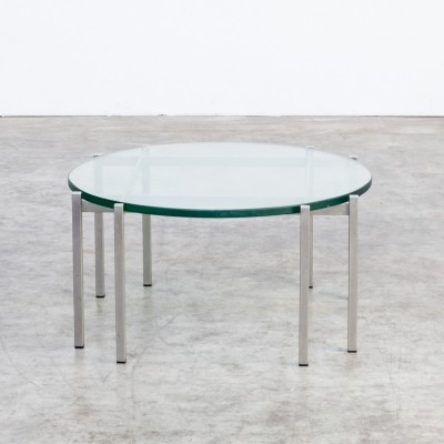 70s round metal & glass design coffee table