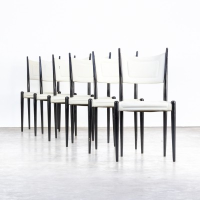 Set of 6 White skai dining chairs on black wooden frame by G-plan, 1970s