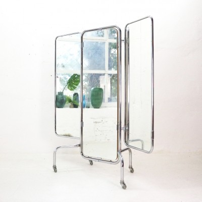 '50s Foldable Triptych Standing Mirror