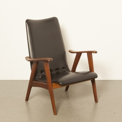 2 x Black armchair by Louis van Teeffelen for Wébé