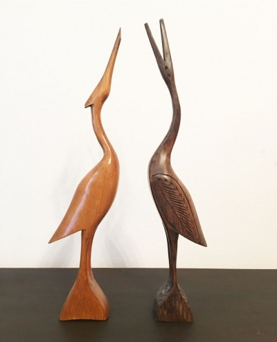 Herons two wooden statues, 1970s