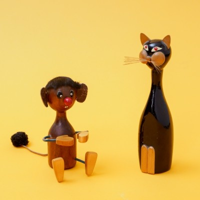 Vintage cat & mouse figurines, 1950s