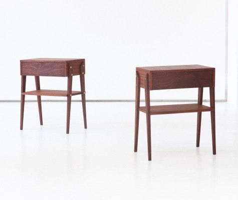 Pair of Italian Mahogany Nightstands Tables, 1950s