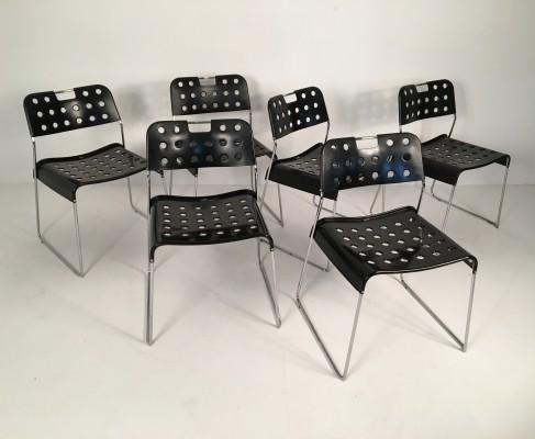 Six Black Rodney Kinsman 'Omstak' chairs, 1970s
