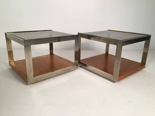 Pair of Merrow Associates Oak Side Tables, England c.1970