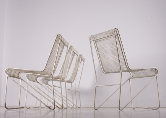 Extremely rare set of metal chairs by M. Matégot