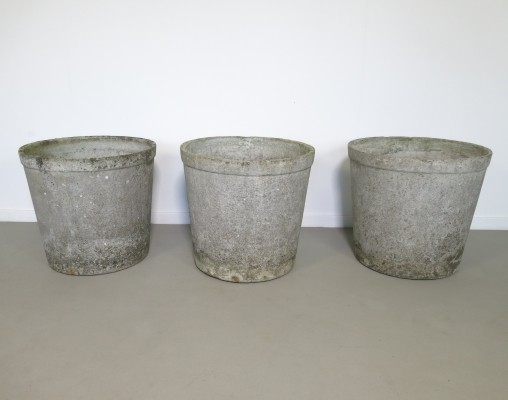 Set of 3 large round planters by Willy Guhl for Eternit SA, 1950's