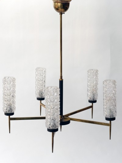 Vintage brass & glass chandelier, 1960s