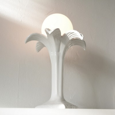 Ceramic white palm tree lamp by Michael Andersen