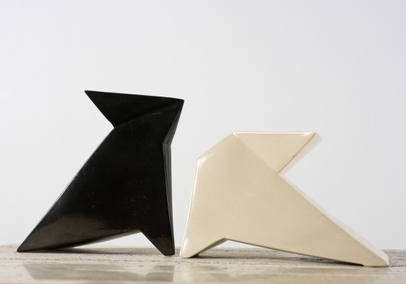 Signed Geometric Abstract Vases