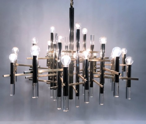 Large Gaetano Sciolari chandelier in chrome & lucite, 1960s
