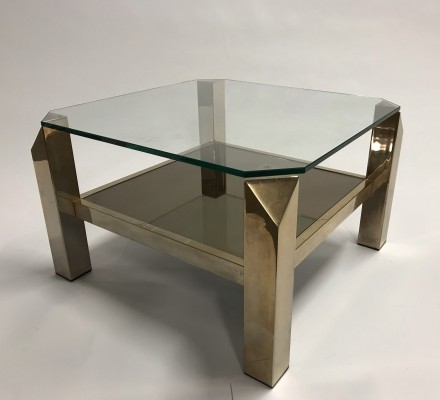 Vintage brass coffee table by Belgochrom, 1970s