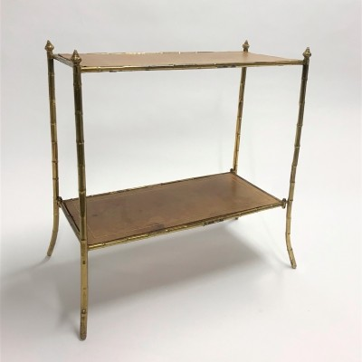 Vintage faux bamboo etagere in brass & leather, 1950s