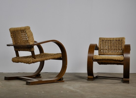 Pair of Armchairs by Adrien Audoux & Frida Minet for Vibo Vesoul, 1940s