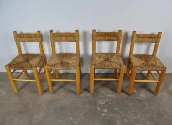 Set of 4 'Dordogne' Dining Chairs by Charlotte Perriand for Sentou, 1960s