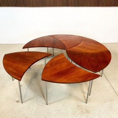 Set of 6 'FD 523' Teak Side Tables by Peter Hvidt for France & Daverkosen, 1950s