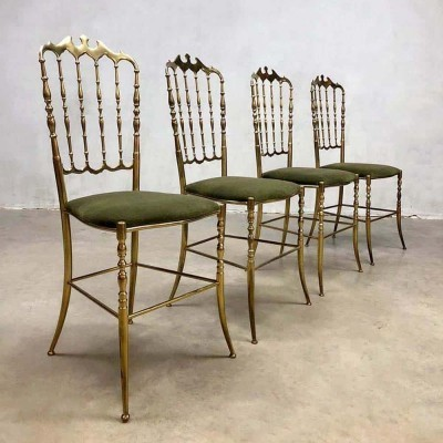 Set of 4 Italian vintage brass Hollywood regency dining chairs by Chiavari