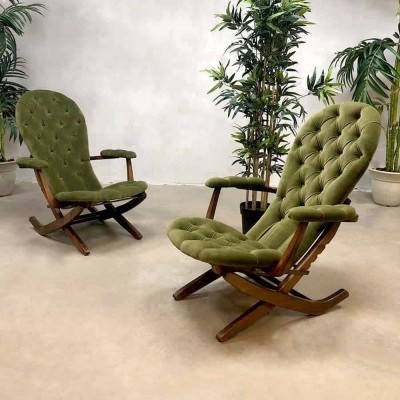 French midcentury modern folding chairs