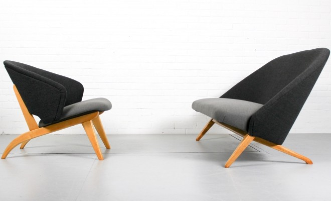Artifort 'congo' sofa & matching rare lounge chair by Theo Ruth, 1950s