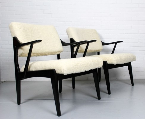 Set of vintage chairs with merino wool upholstery