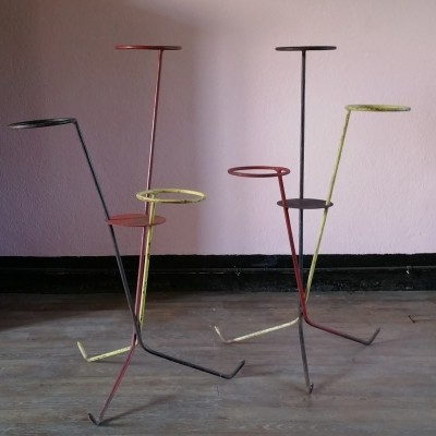 Set of 2 Minimalist French Plant Stands, 1950s
