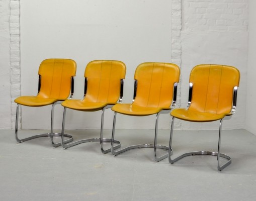 Set of Four Italian Design Leather Dining Chairs by Willy Rizzo for Cidue, 1970s