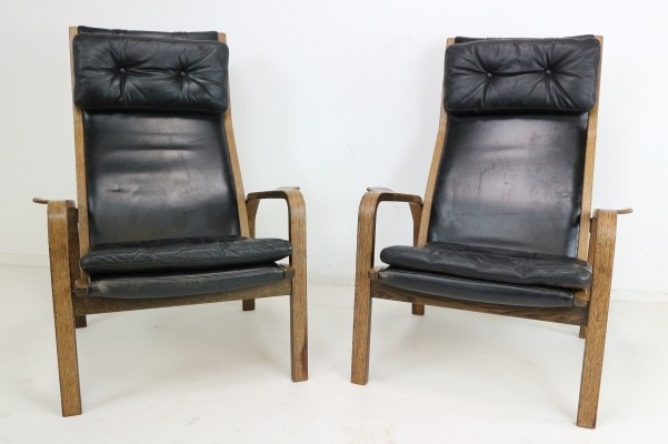 Pair of Yngve Ekstrom Armchairs in Black Leather & Wengé, 1960s