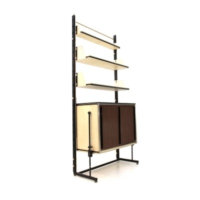 Italian mid-century bookcase in artificial leather, 1960s