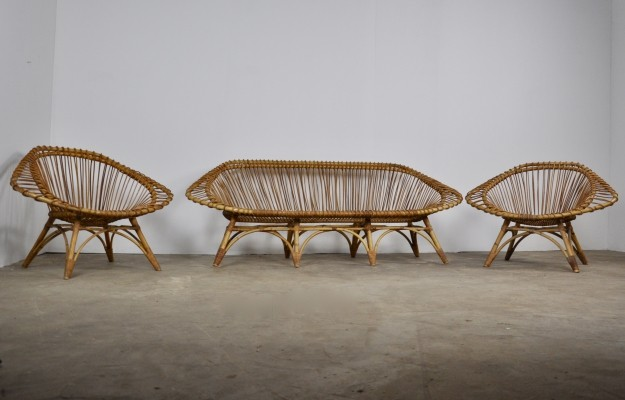 Rattan seating Group, 1960s