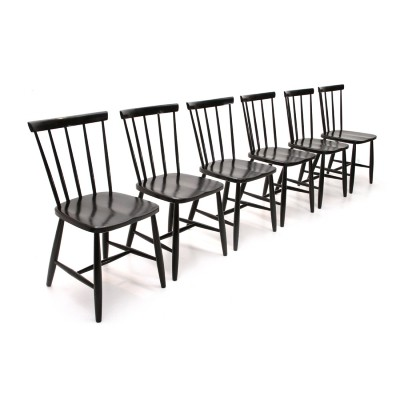 Set of 6 Italian mid-century black dining chairs by Casa Arredo, 1960s