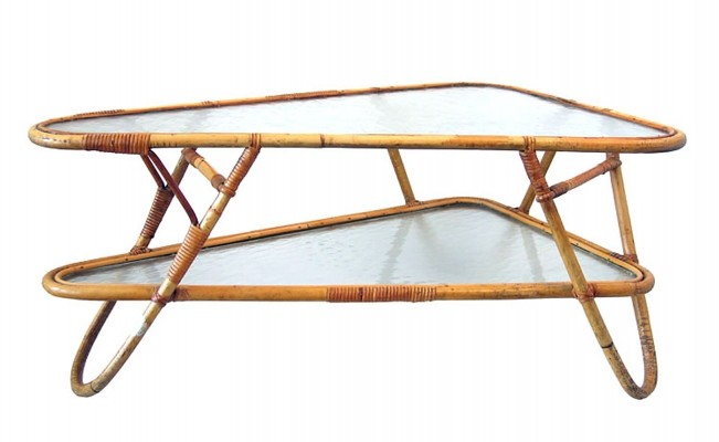 Dutch design rotan cane coffee table