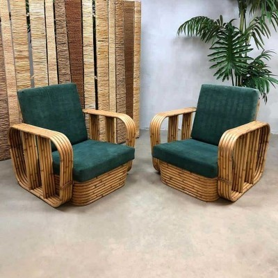 Pair of Vintage rattan bamboo lounge chairs, 1950s
