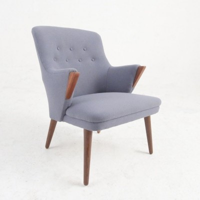 Rosewood & wool Easy chair, 1950s