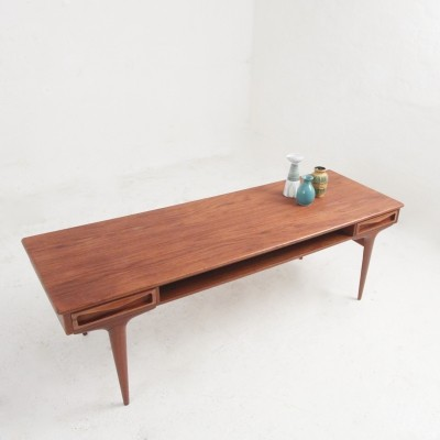 Danish mid-century coffee table in teak with two drawers & a magazine shelf