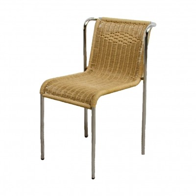 5 'Bauhaus style' stackable dining chairs with robe weaving seat & back, 1970s