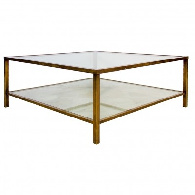 Italian bronzed frame two level glass top coffee Table, 1970's