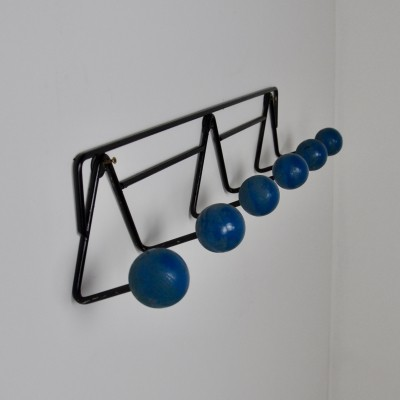 Vintage French Blue Coat Rack, 1960s