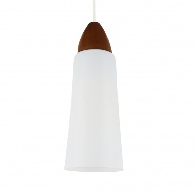 Minimalistic milk glass & wood pendant light, 1960s