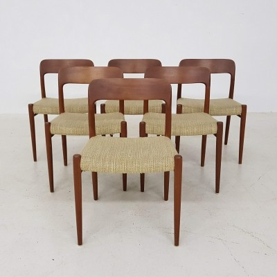Set of 6 Model 75 dinner chairs by Niels Otto Møller for JL Møller Møbelfabrik, 1960s