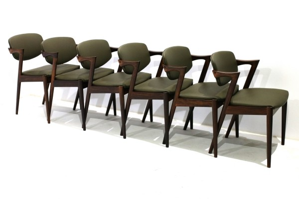 Set of 6 'Model 42' Dining Chairs by Kai Kristiansen for Schou Andersen