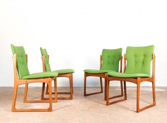 Danish set of 4 chairs in teak & green fabric by Vamdrup, 1960s