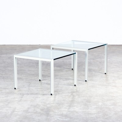 Pair of aluminium & glass coffee tables / side tables, 1980s