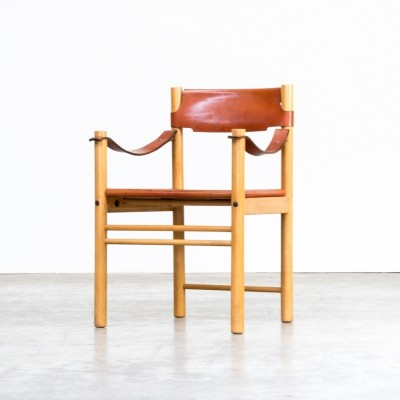 Camel brown leather chair for Ibisco, 1970s