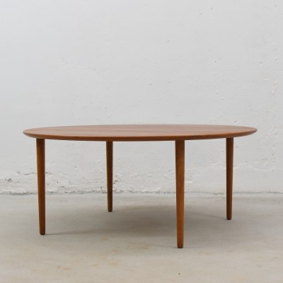Round teak & oak coffee table with brass inlay, Denmark 1950's