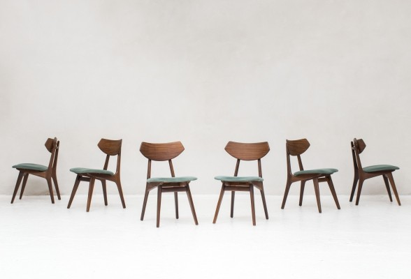 6 dining chairs by Louis Van Teeffelen for Wébé, Dutch design 1950