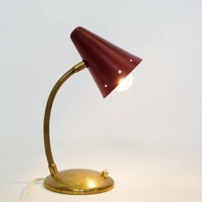 Red & gold lamp, France 1960-1970