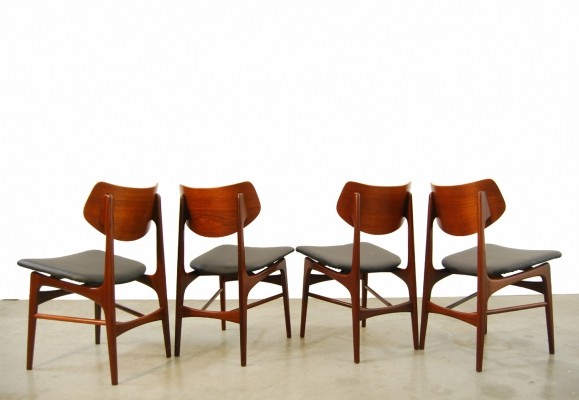 Vintage teak 'Hamar' dining chairs by Louis van Teeffelen for Webe, 1960s