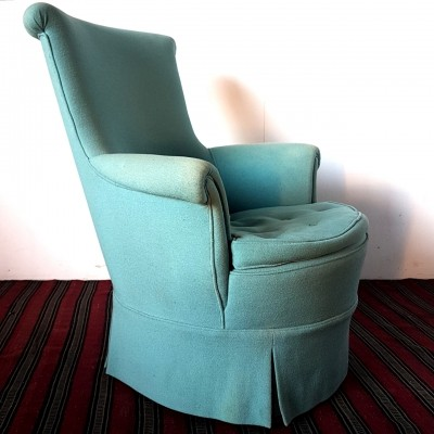 Mid century light blue arm chair