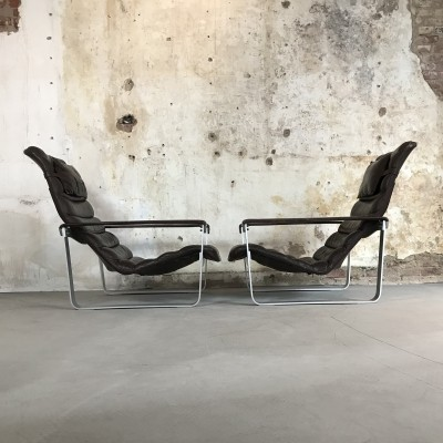 Set of Two 'Pulkka' Lounge Chairs by Ilmari Lappalainen for Asko Finland, 1968